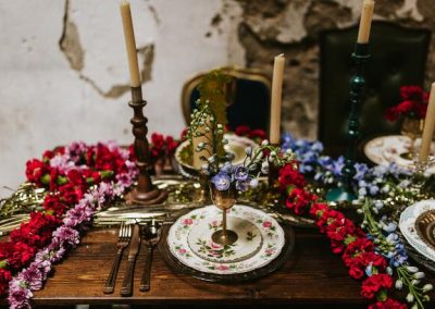 vintage retro colourful table setting