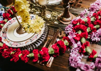 close up of decadent table setting