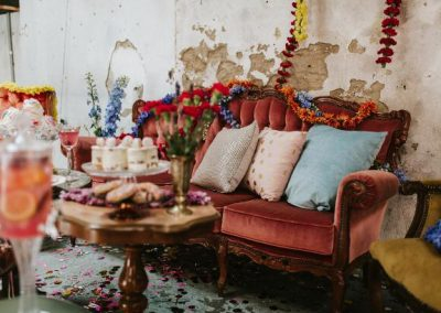 detailed shot of pink vintage sofa with cushions