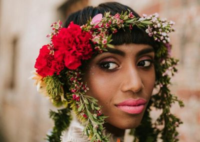 close up portrait of bride with floral crown