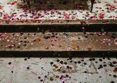 concrete steps sprinkled with confetti