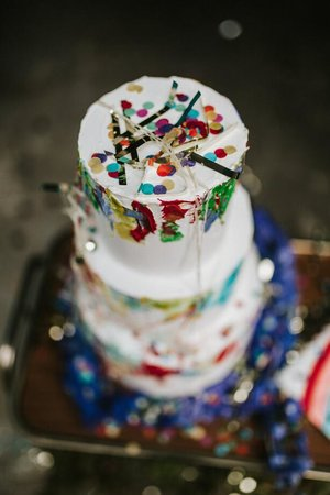 confetti sprinkled on delicious looking cake