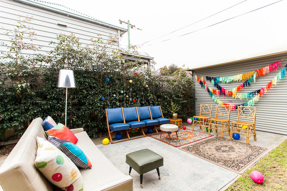 Good Day Rentals Colourful backyard party