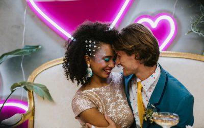 Neon punks glitter wedding inspiration