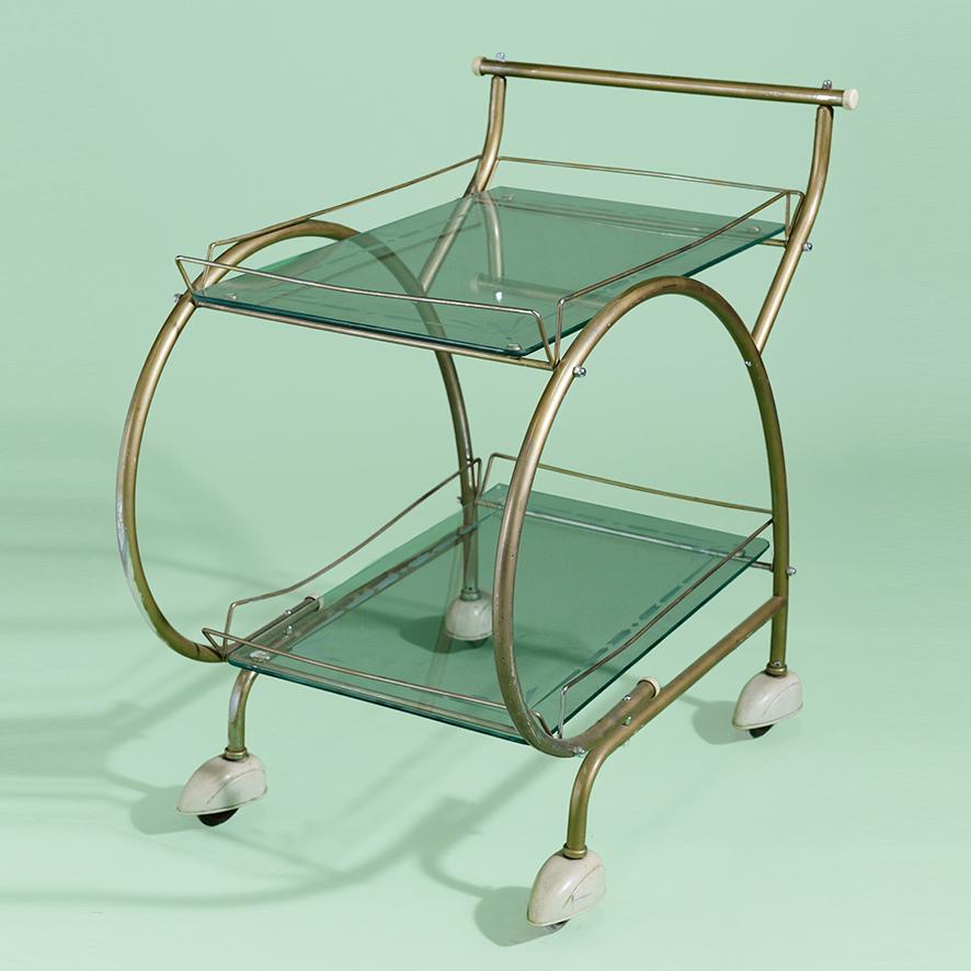 Gold Art Deco Bar Trolley-1-BA014