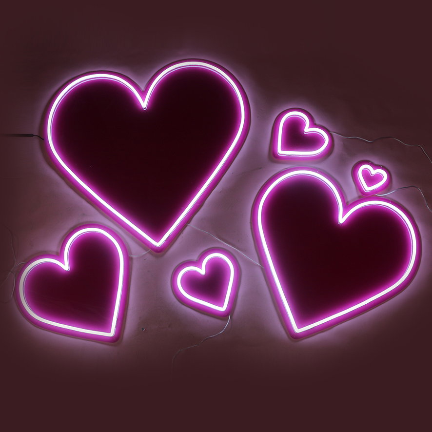 Pink hearts neon sign 1-NS007