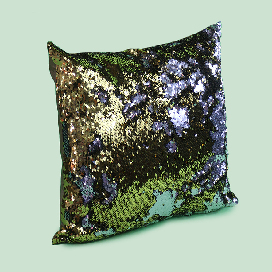 Silver + Gold Sequin Cushion-PT080