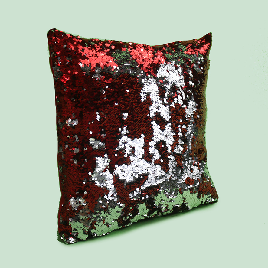 Silver + Red Sequin Cushion-PT081