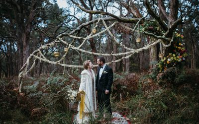 Golden disco elopement at Tanglewood
