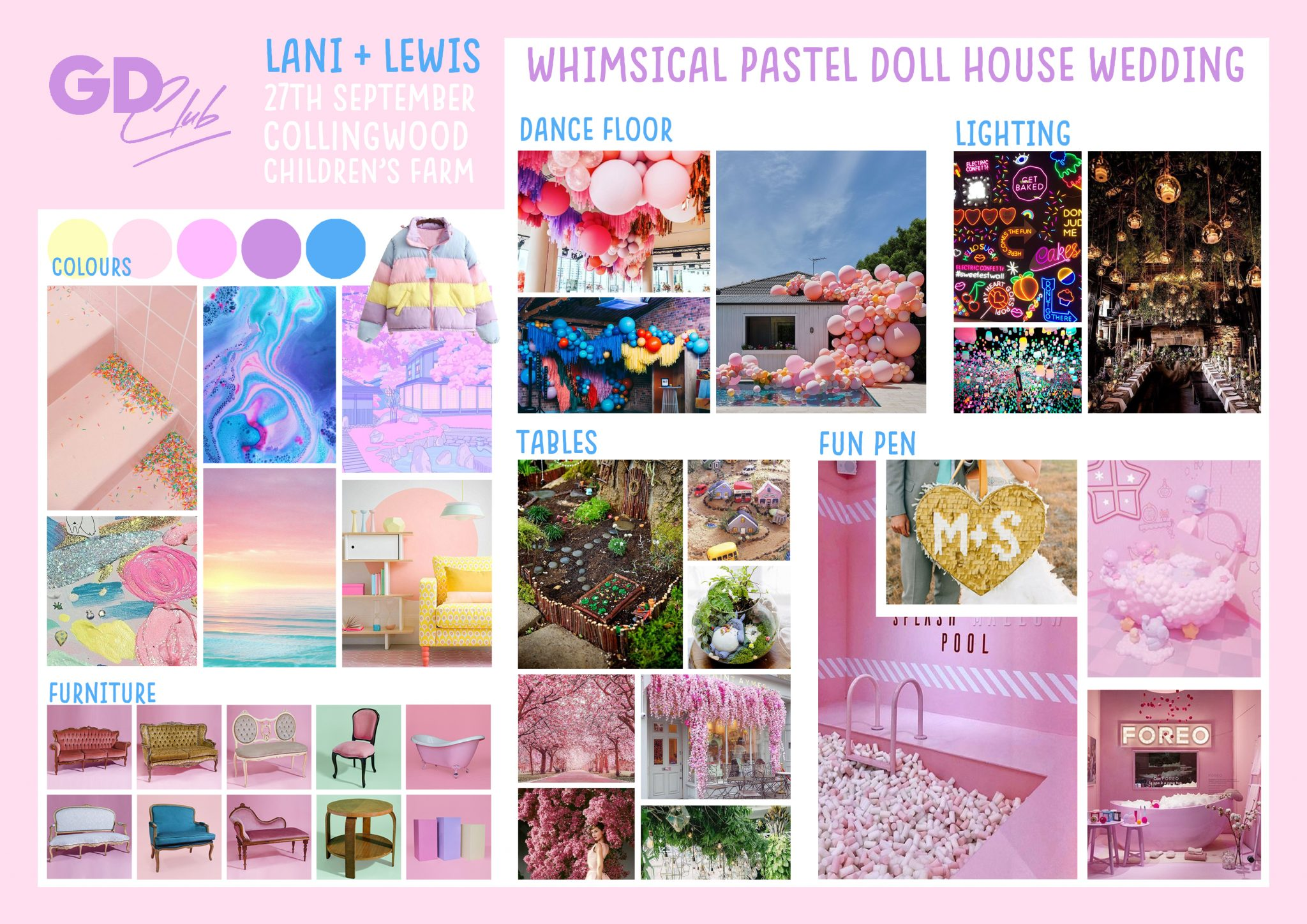 Whimsical Dollhouse Wedding MoodBoard