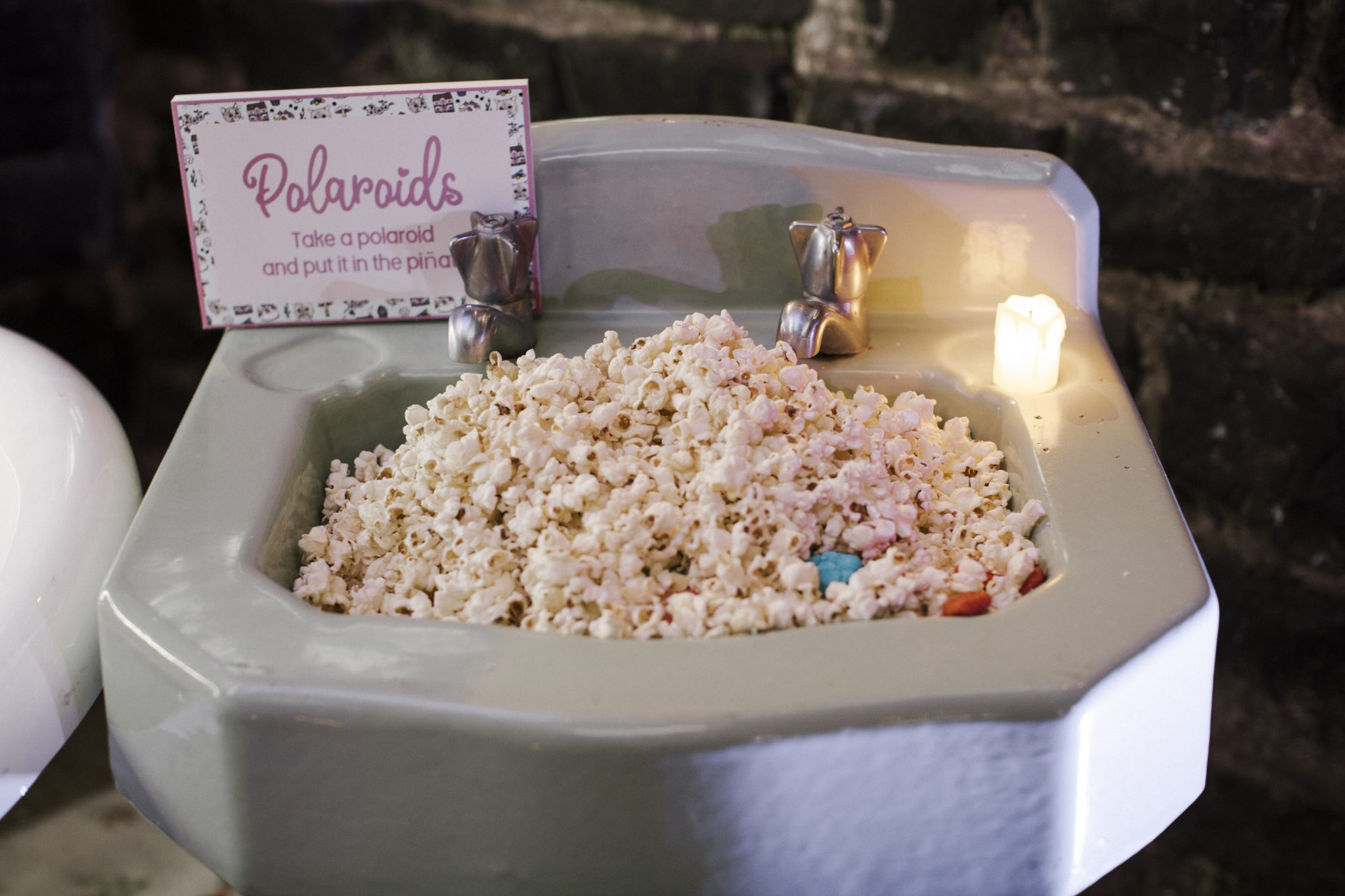 Whimsical Dollhouse Wedding Reception - popcorn stand