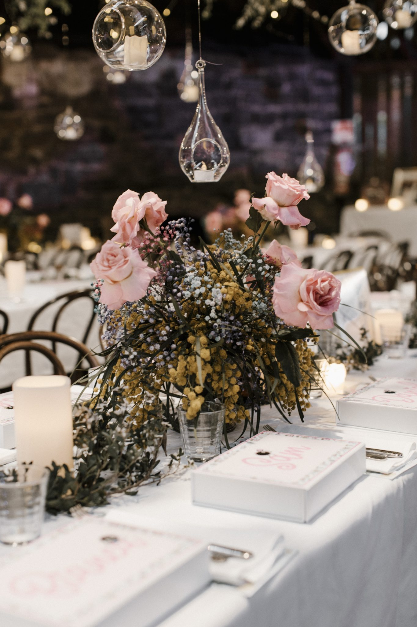 Whimsical Dollhouse Wedding Reception - Luna Moss table arrangements