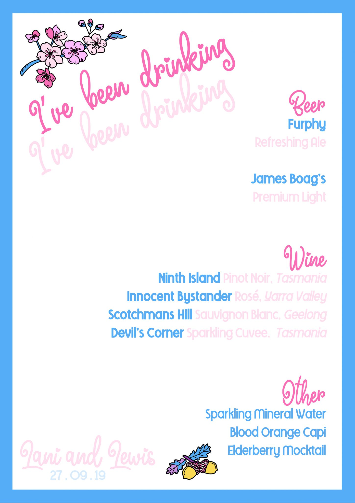Whimsical Dollhouse Themed Wedding Graphics - Drinks Menu