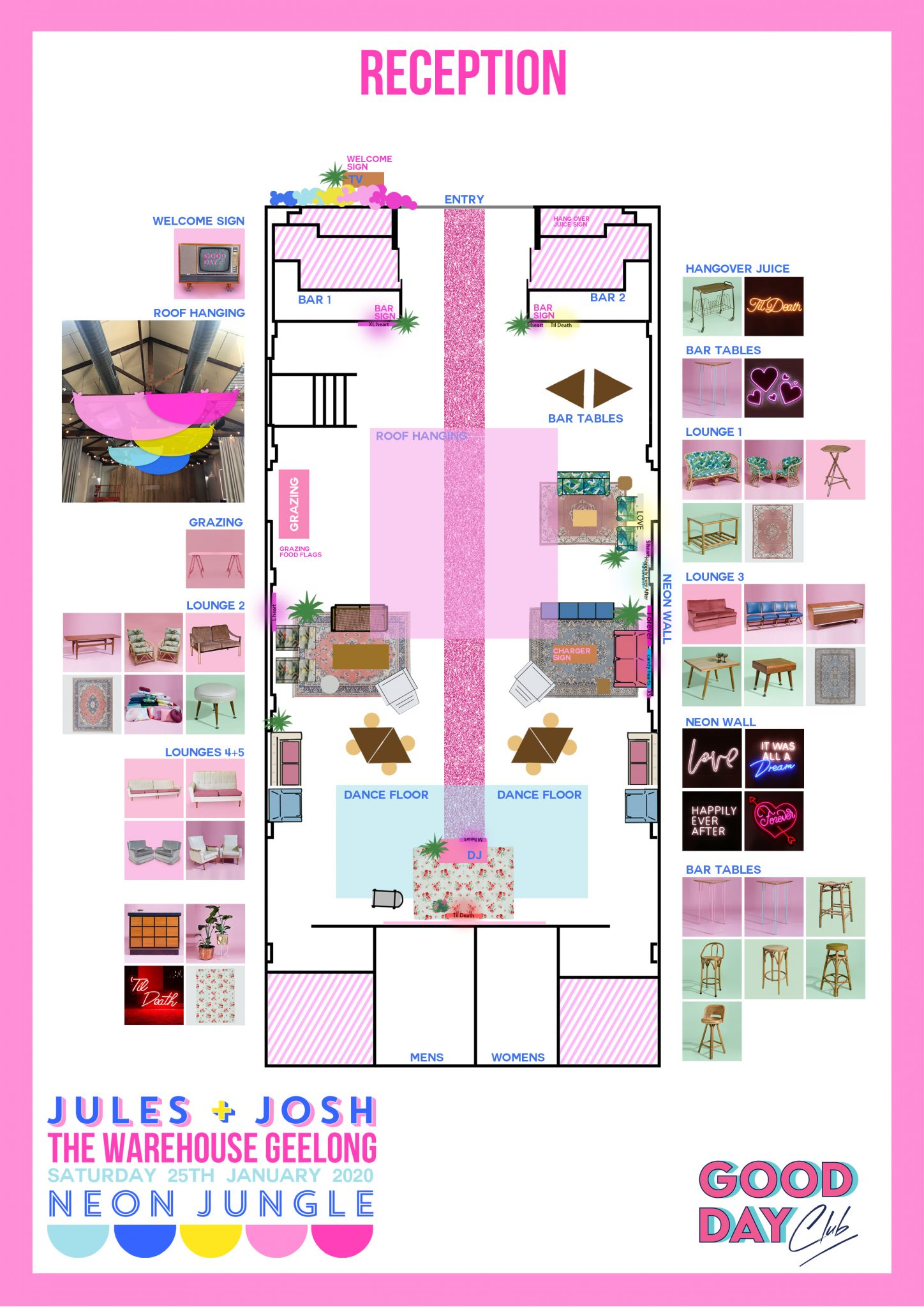 Colourful wedding floor plan